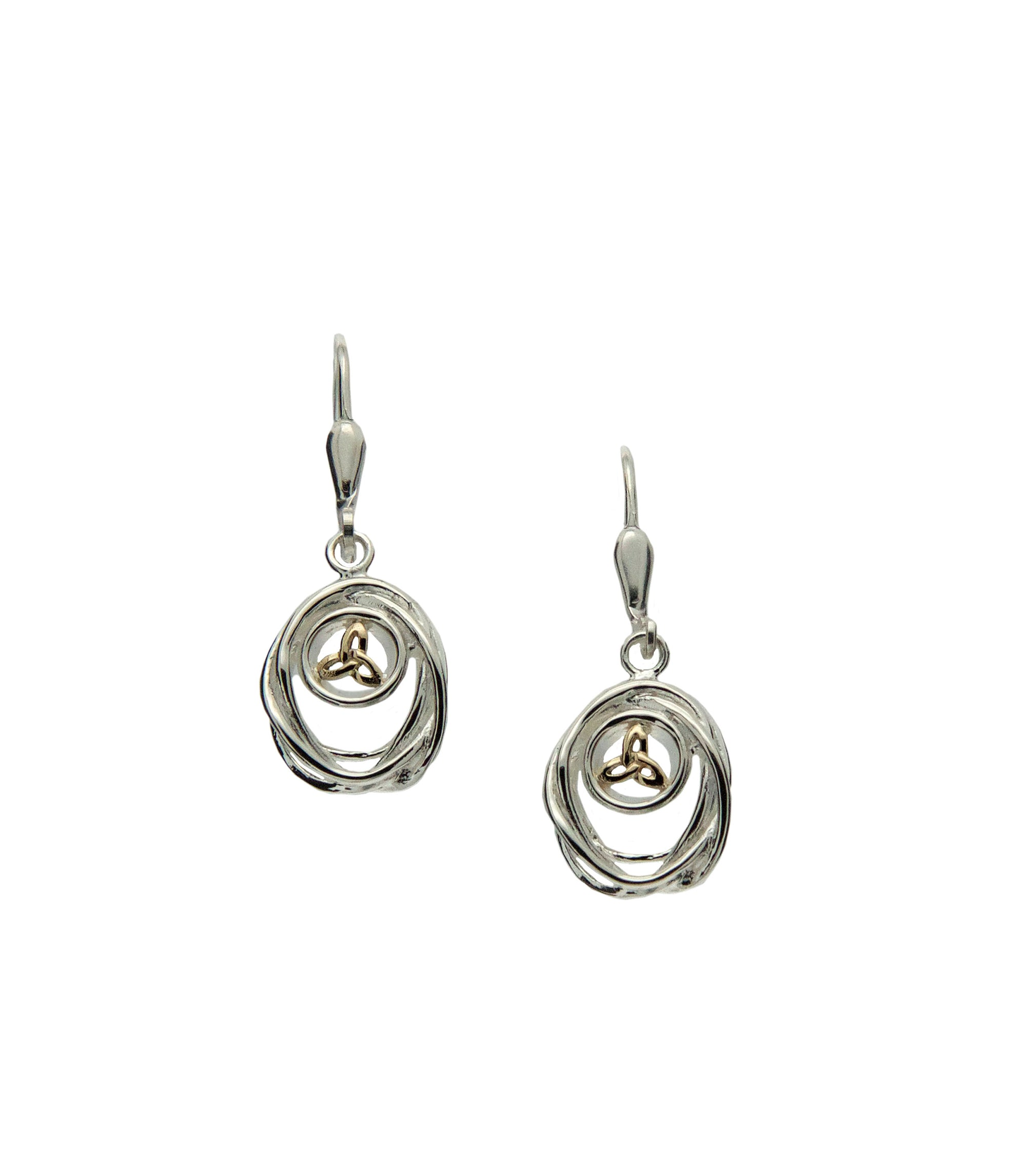Women's S/Silver and 10K Gold Celtic Cradle of Life Drop Earrings