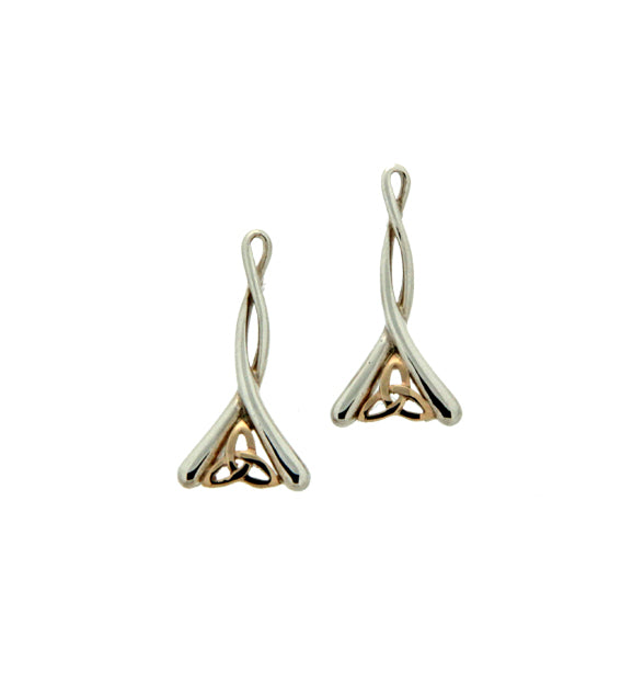 S/Silver and 10K Gold Celtic Trinity Post Earrings