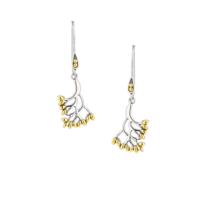 Celtic Tree of Life Earrings Sterling Silver & 18K Gold - Small