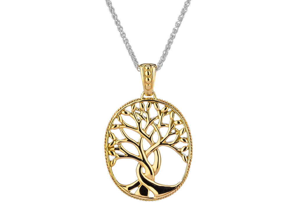 Tree of Life Pendant in 10K or 14K Yellow Gold - Large