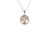 Rose Gold and Sterling Silver Celtic Tree of Life Necklace