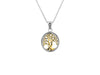 10K Gold and Sterling Silver Tree of Life Small Pendant