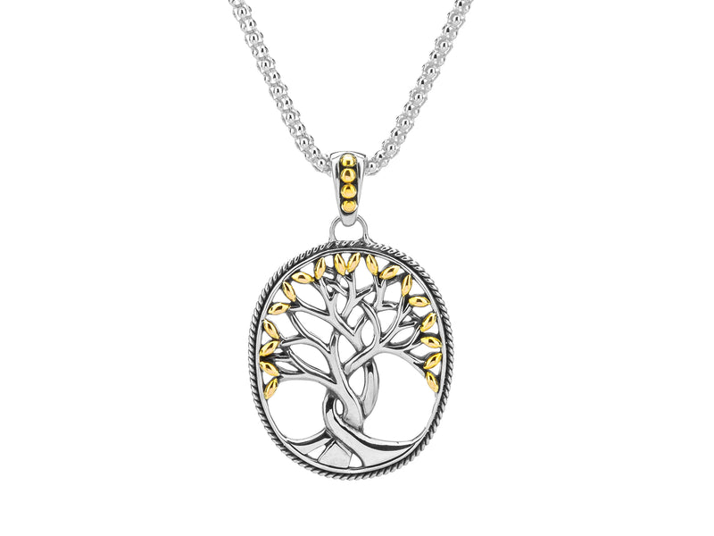18K Gold and Sterling Silver Tree of Life Large Pendant