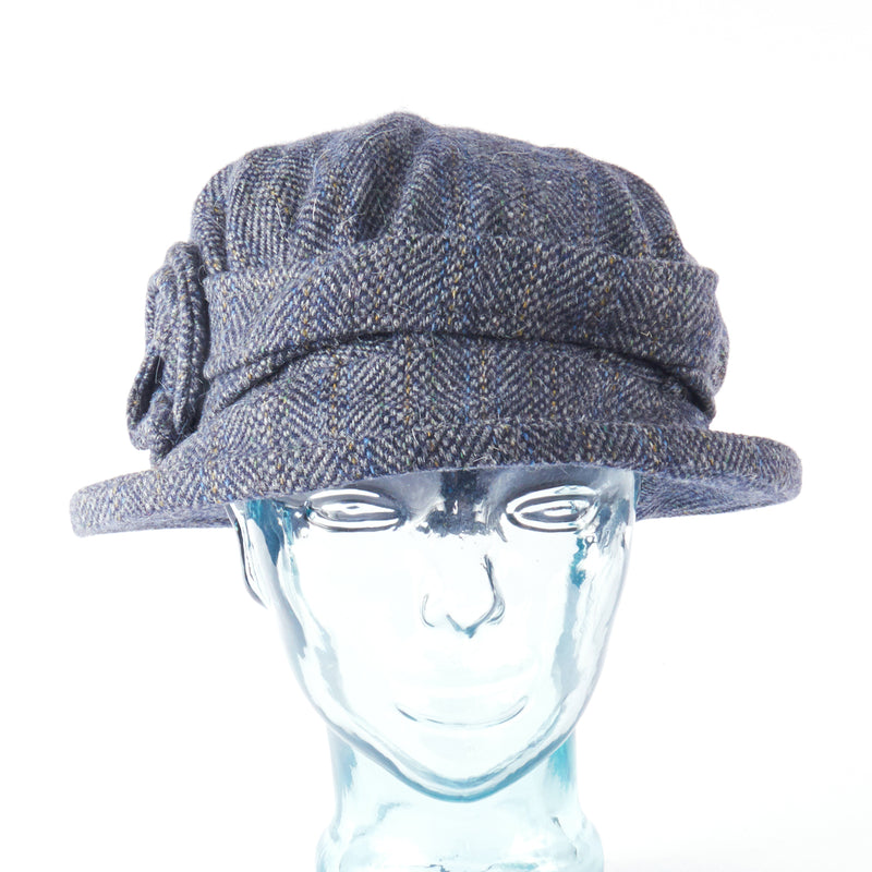 Slate Blue Herringbone Downton Abbey Style Ladies Hat