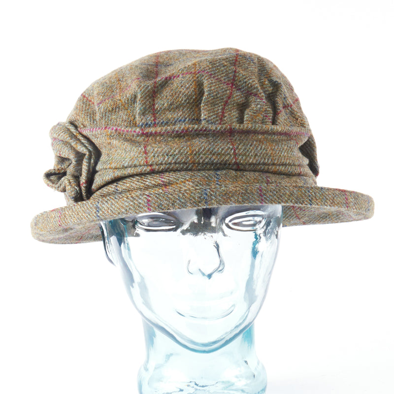 Muted Green with Red Stripe Downton Abbey Style Ladies Hat