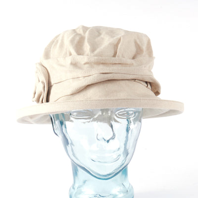 Natural Irish Linen Downton Abbey Style Ladies Hat