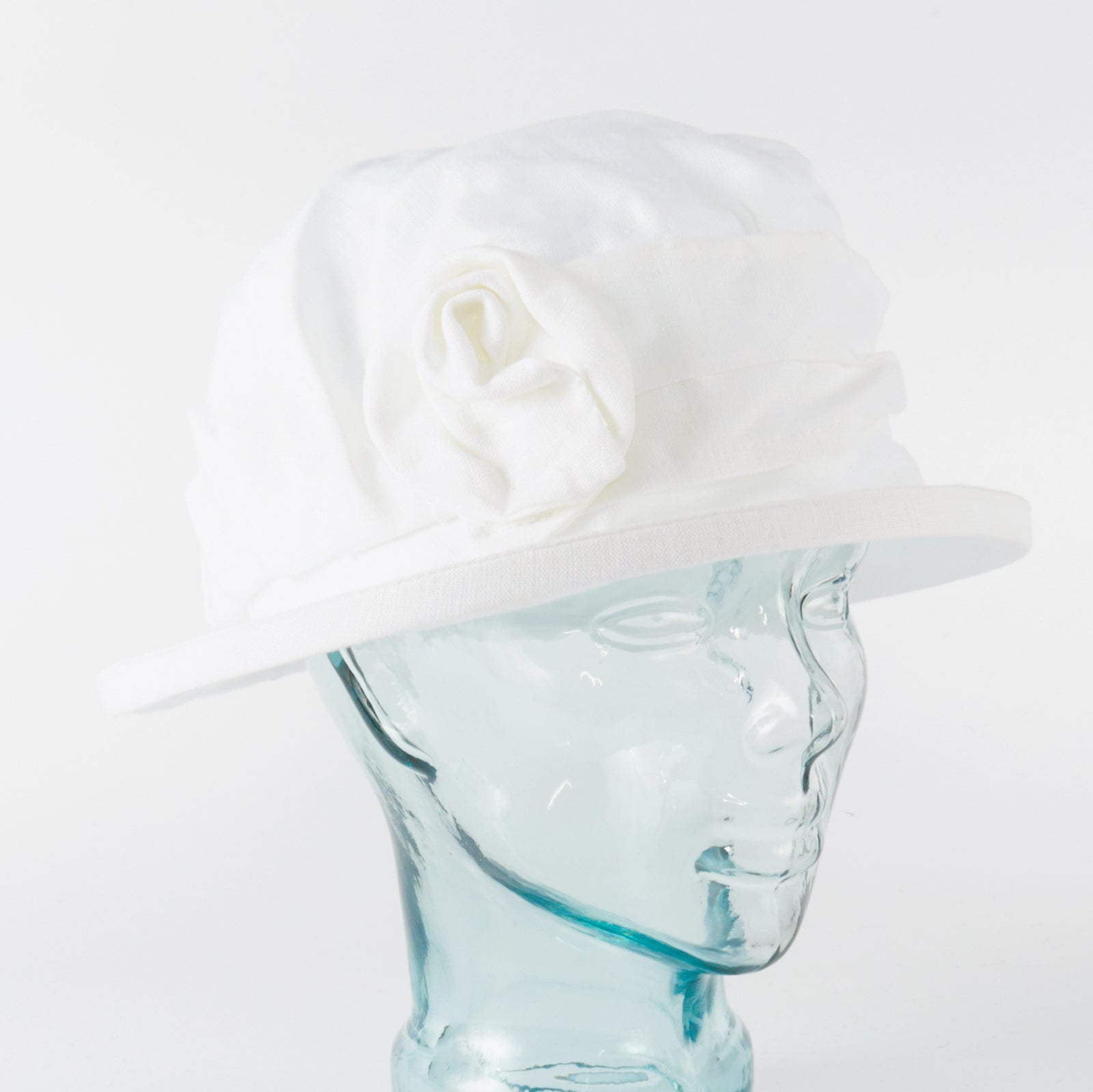 White Irish Linen Downton Abbey Style Ladies Hat