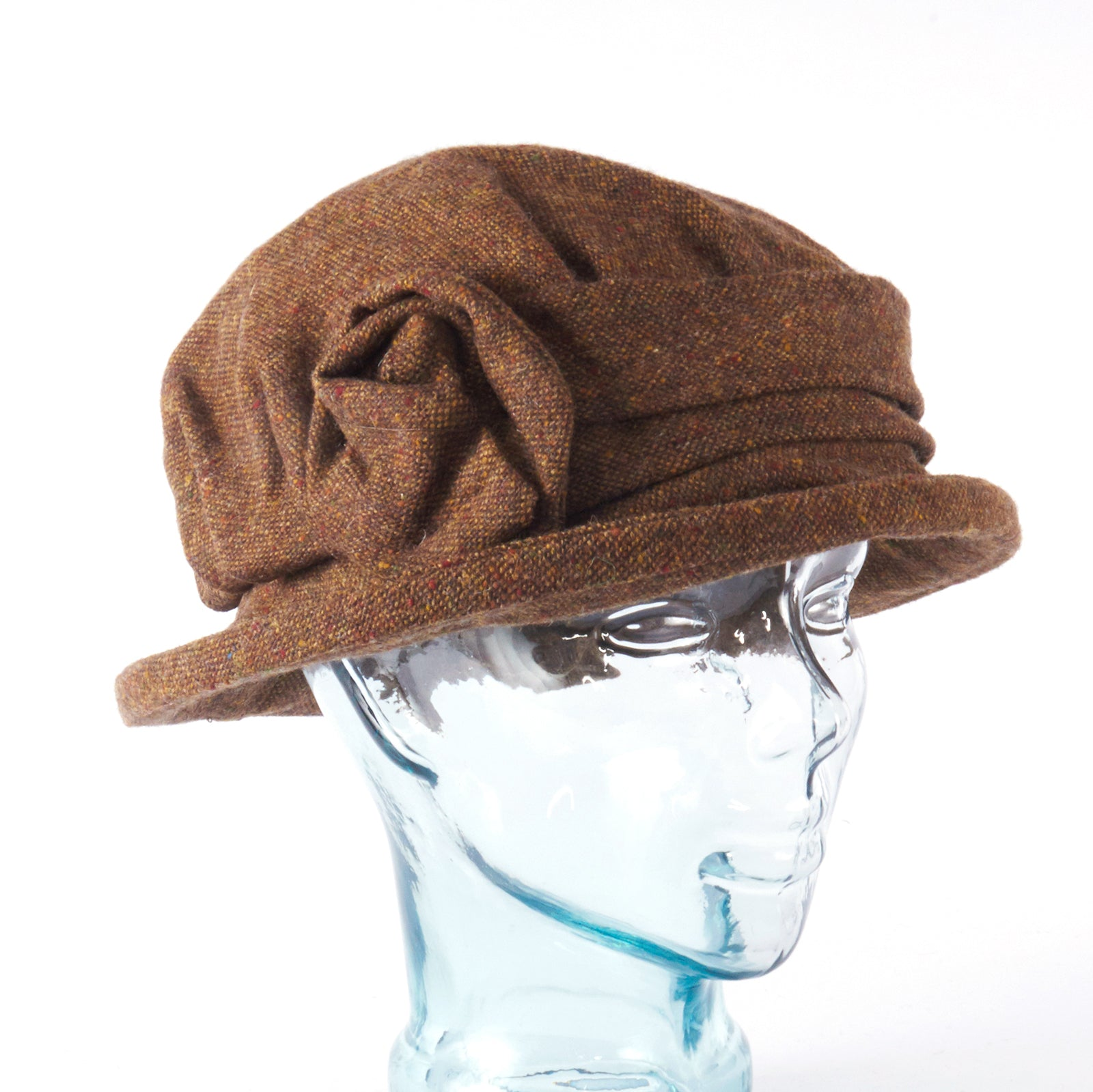Brown Tweed Downton Abbey Style Ladies Hat