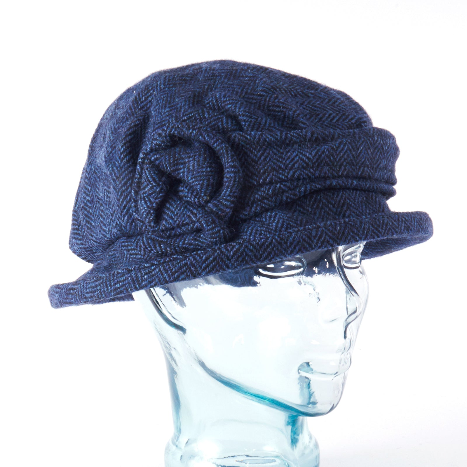 Navy Blue Herringbone Downton Abbey Style Ladies Hat