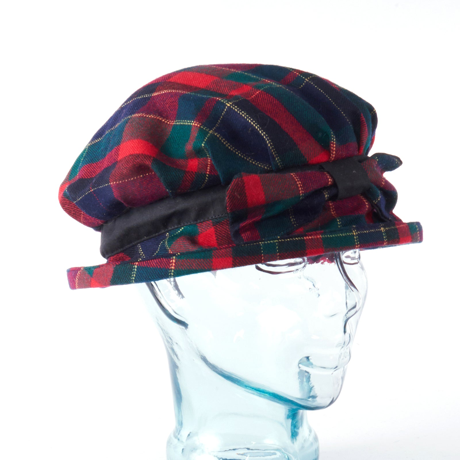 Red Plaid with Bow Downton Abbey Style Ladies Hat