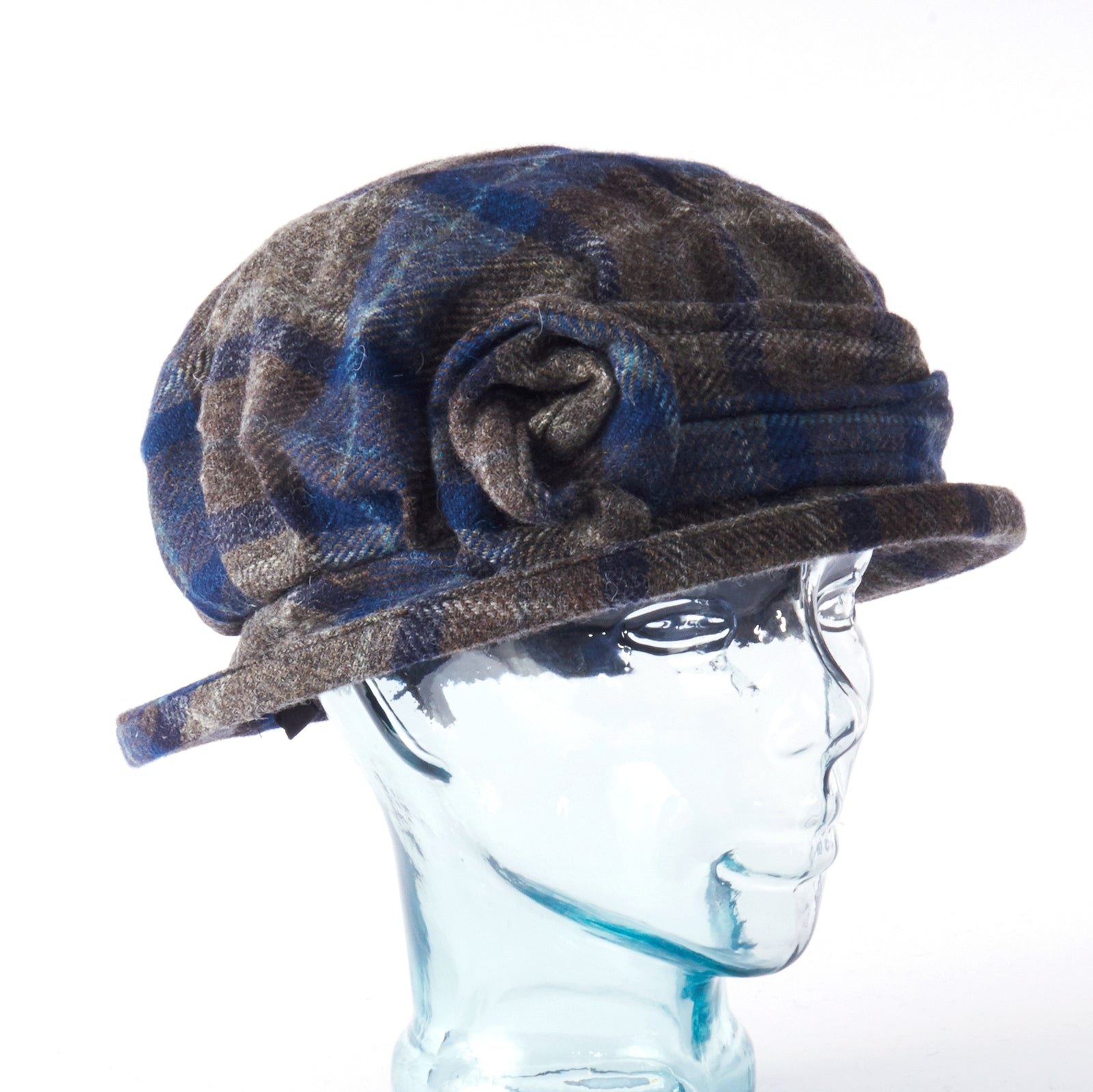 Blue Grey Plaid Downton Abbey Style Ladies Hat