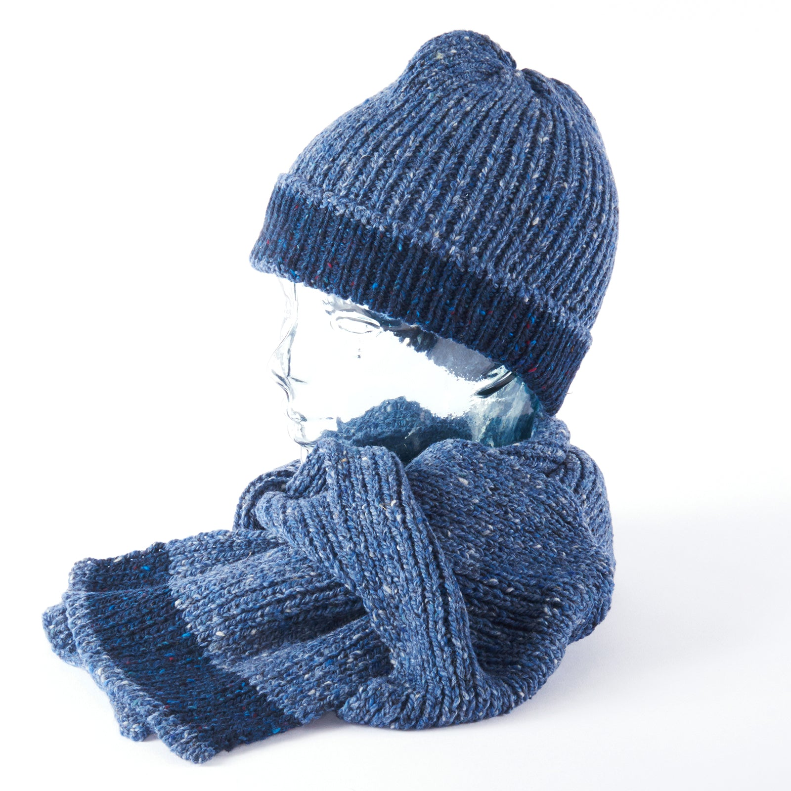 Merino Scarf and Beanie - Blue