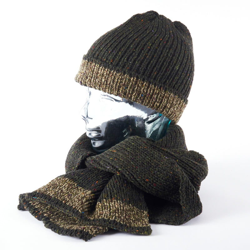 Merino Scarf and Beanie - Moss Green