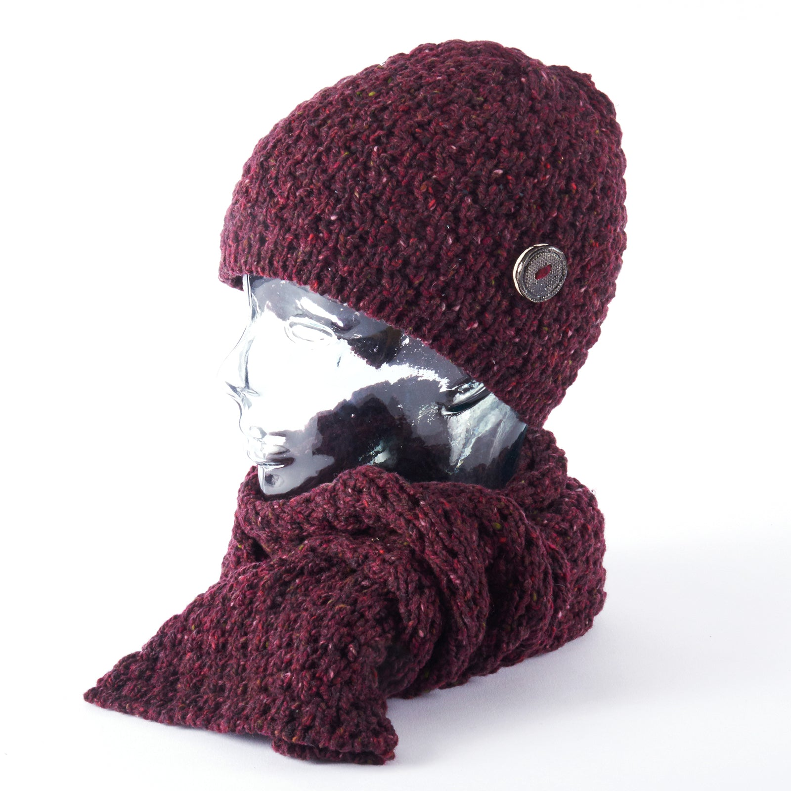 Womens Merino Scarf and Beanie - Burgundy