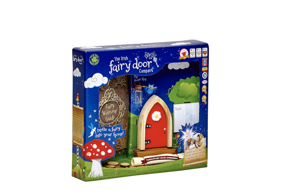 Irish Fairy Door - Red Arch Wooden Door