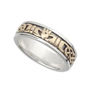 S21007 Silver and 10K Gold Ladies Claddagh Band