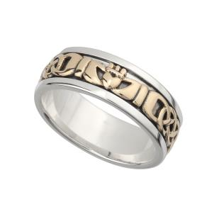 S21008 Silver and 10K Gold Mens Claddagh Band