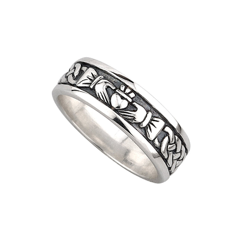Mens Claddagh and Celtic Knot Band - S2828