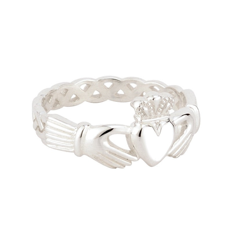 S2865 Knotwork Irish Claddagh Ring for Ladies by Solvar