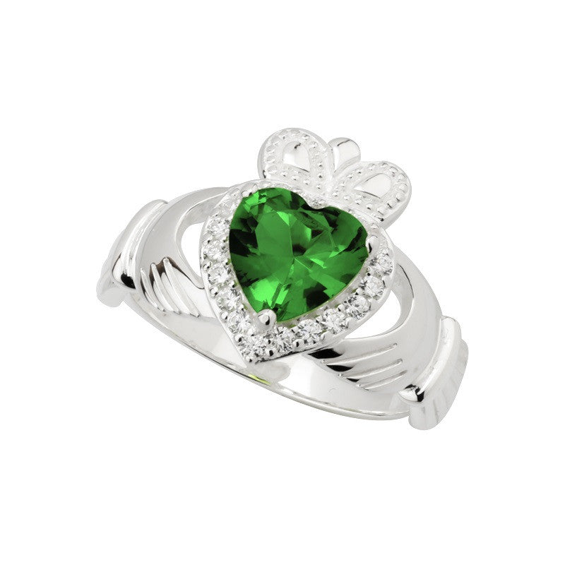 S2971 Ladies Green Crystal Claddagh Ring