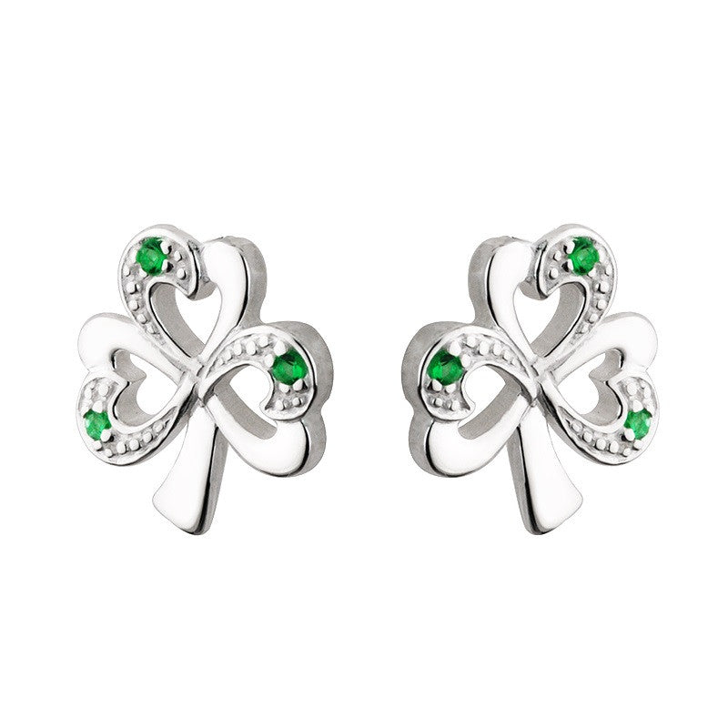Emerald Shamrock Stud Earrings S/S - S33152