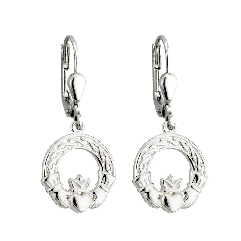 Celtic Claddagh with Knotwork Drop Earrings S/S - S33271