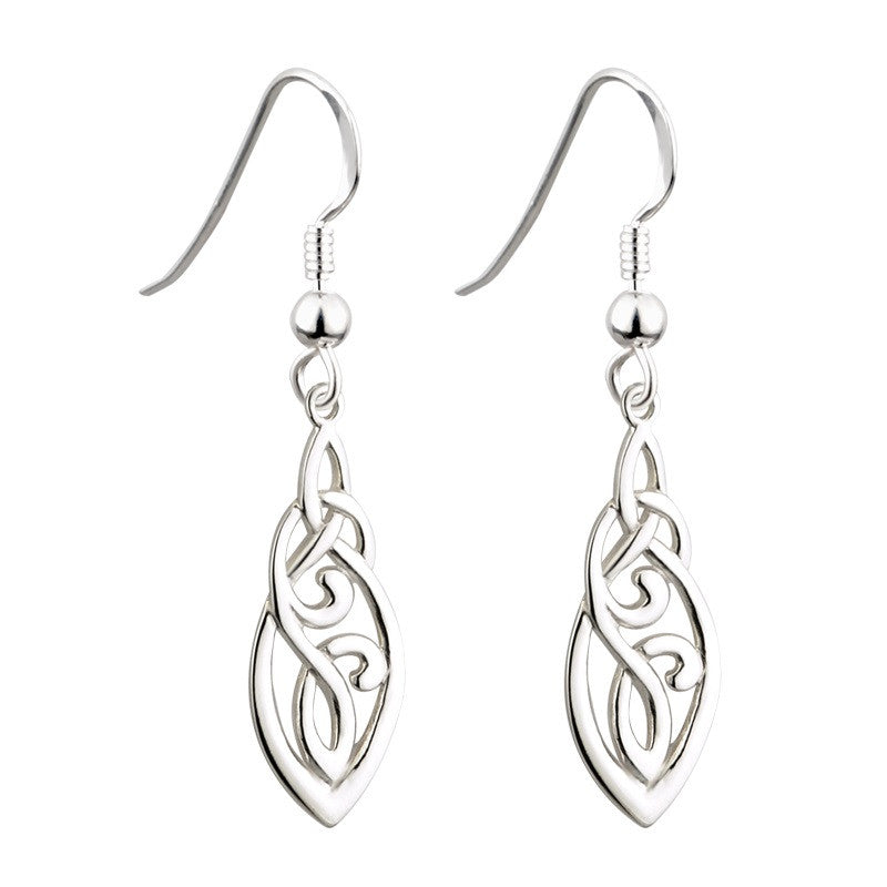 Long Trinity Celtic Drop Earrings S/S - S33424