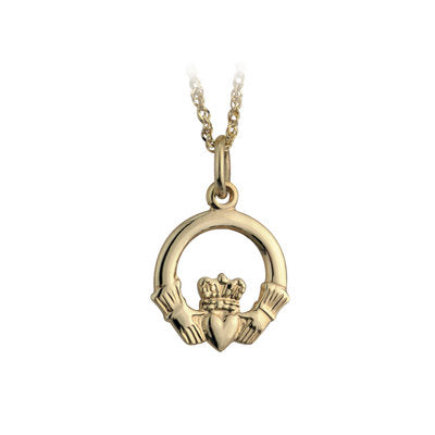 10K Gold Small Claddagh Pendant