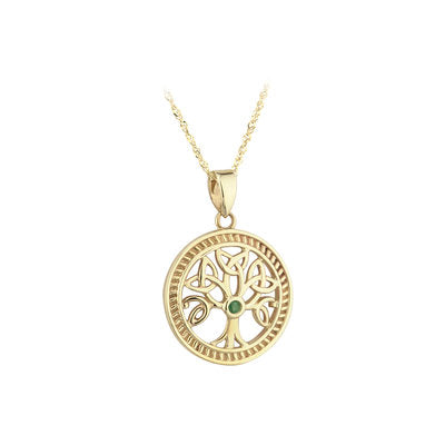 10K Gold Emerald Tree of Life Pendant S45143