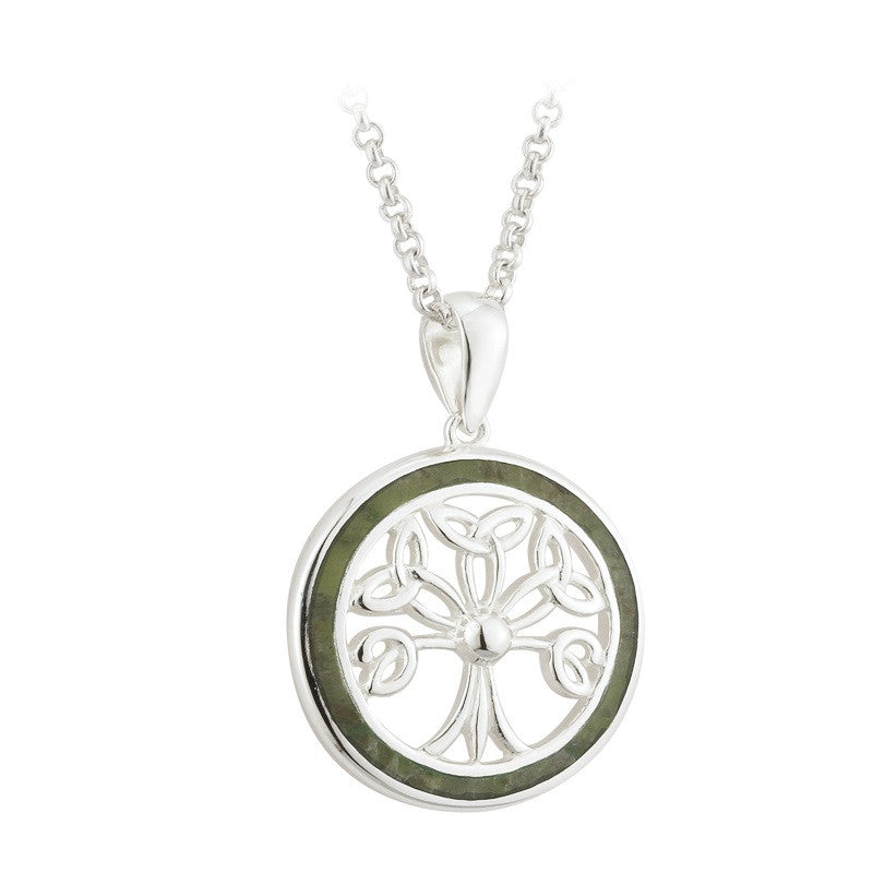 Connemara Marble Tree of Life Stering Silver Pendant