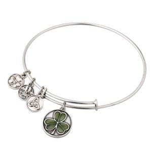 Green Enamel Shamrock Charm Bangle
