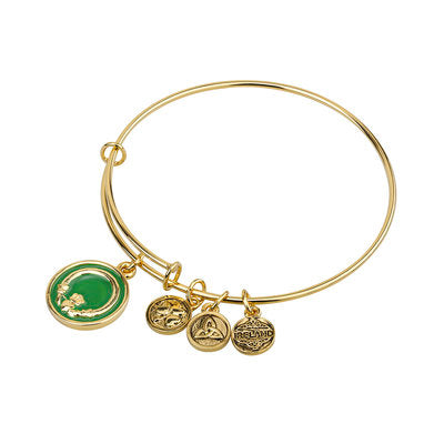 Green Enamel Claddagh Charm Bangle