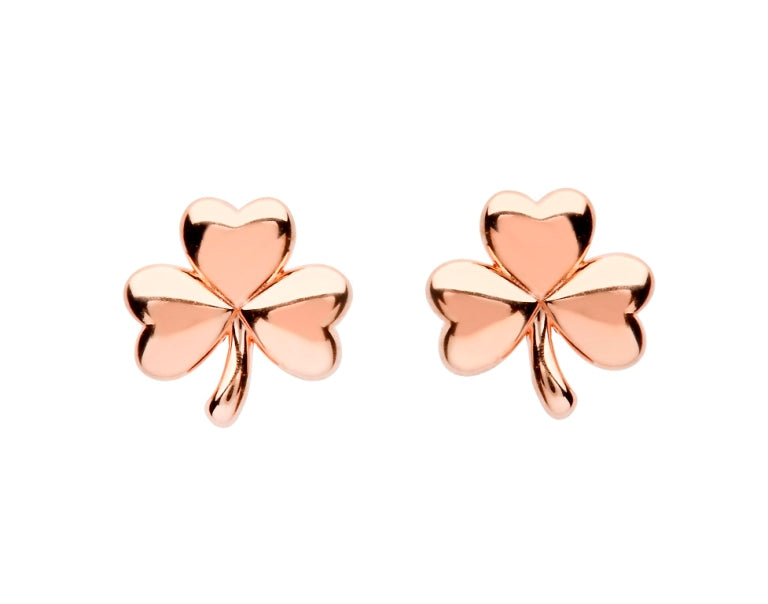 SE2248 Sterling Silver Shamrock Rose Gold Plated Stud Earrings