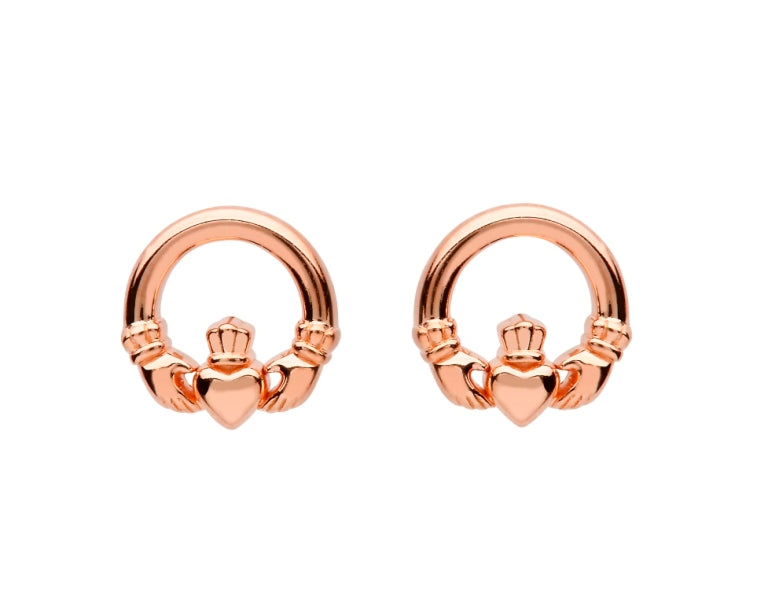 SE2249 Sterling Silver Claddagh Rose Gold Plated Stud Earrings