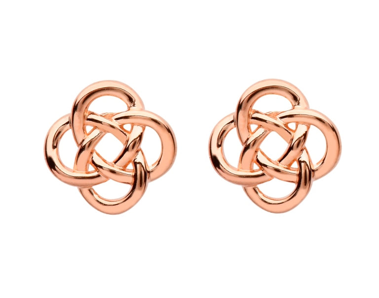 SE2251 Sterling Silver Celtic Rose Gold Plated Stud Earrings