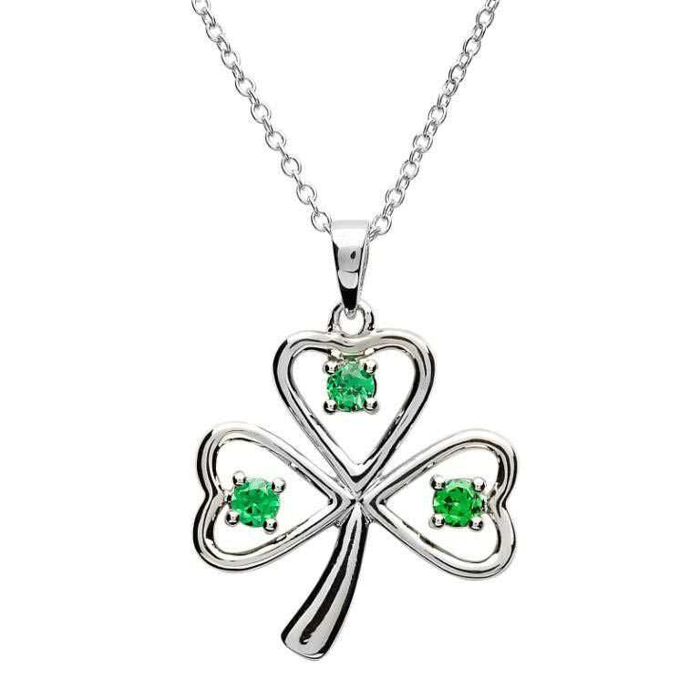 SP1090 Stone Set Shamrock Silver Necklace