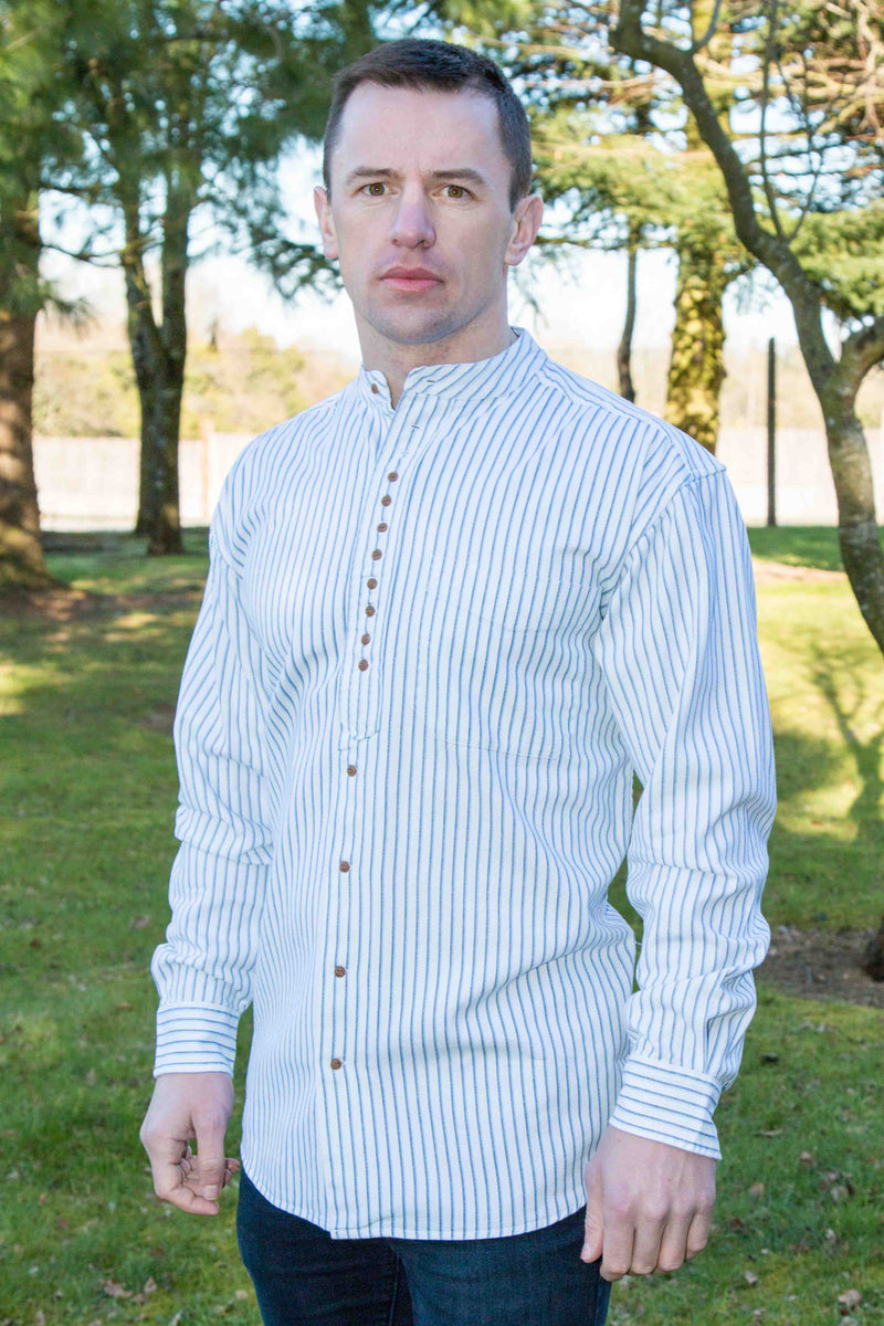 Men's Irish Grandfather Shirt - White with Blue Stripes