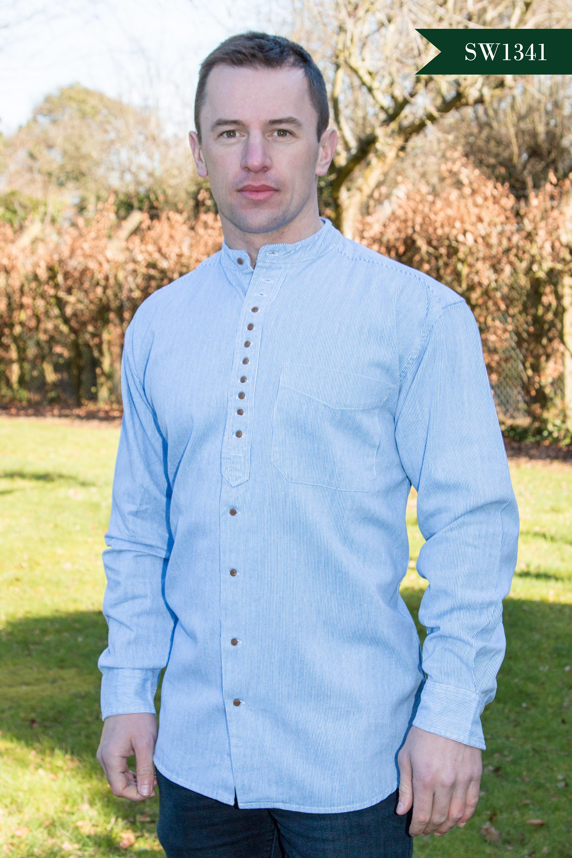 Men's Irish Grandfather Shirt - Soft Blue with Fine White Stripes