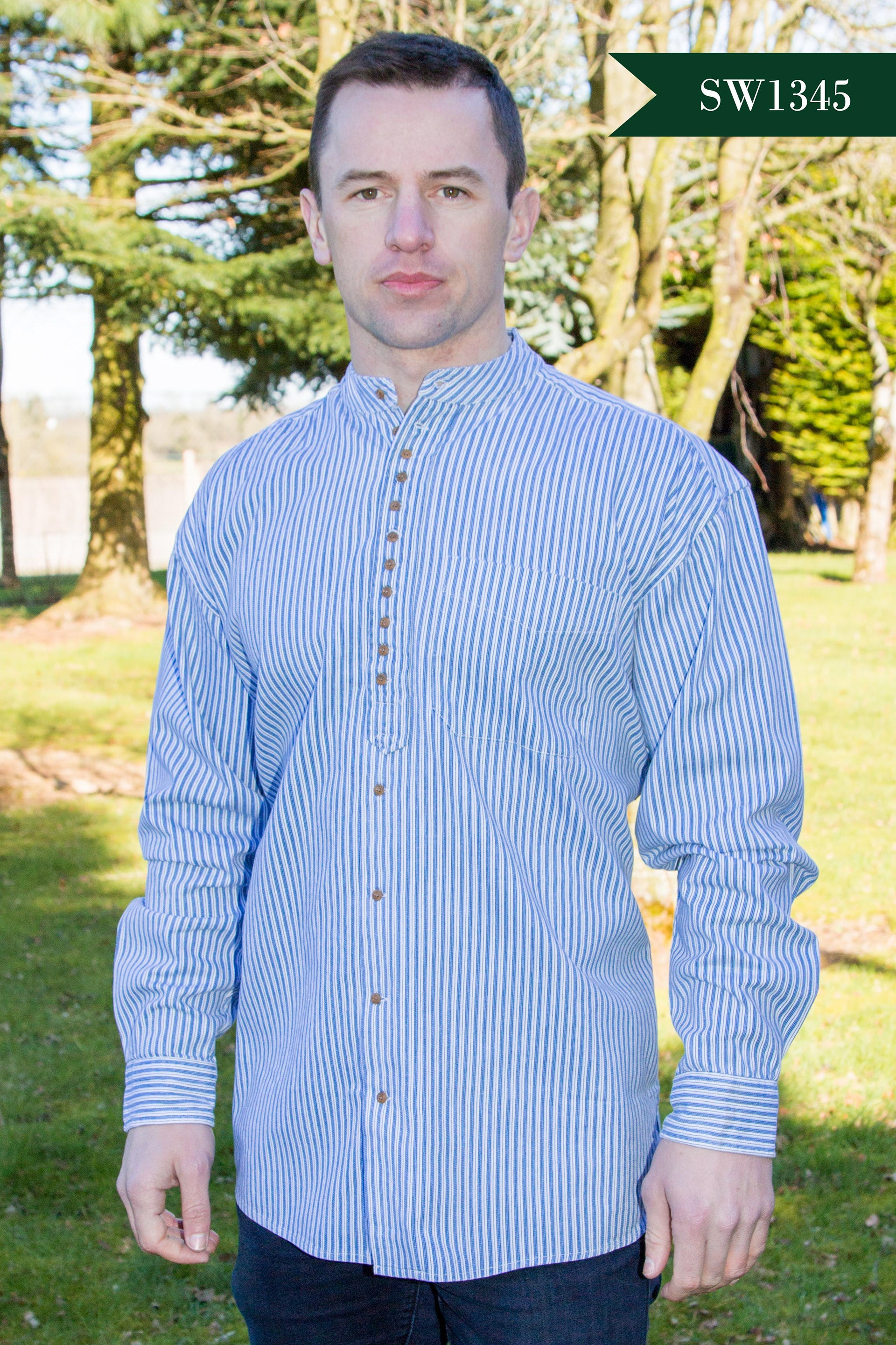 Men's Irish Grandfather Shirt - Medium Blue Stripes