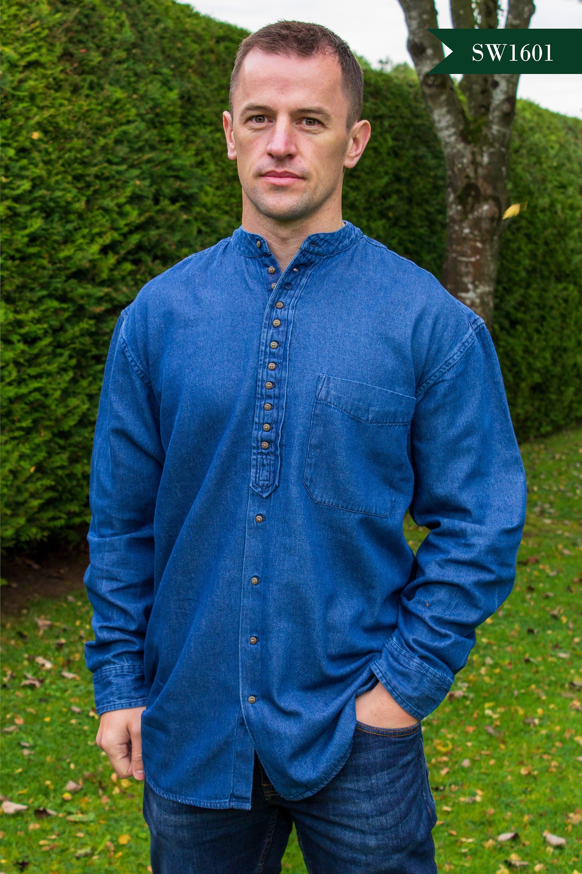 Men's Irish Grandfather Shirt - Denim