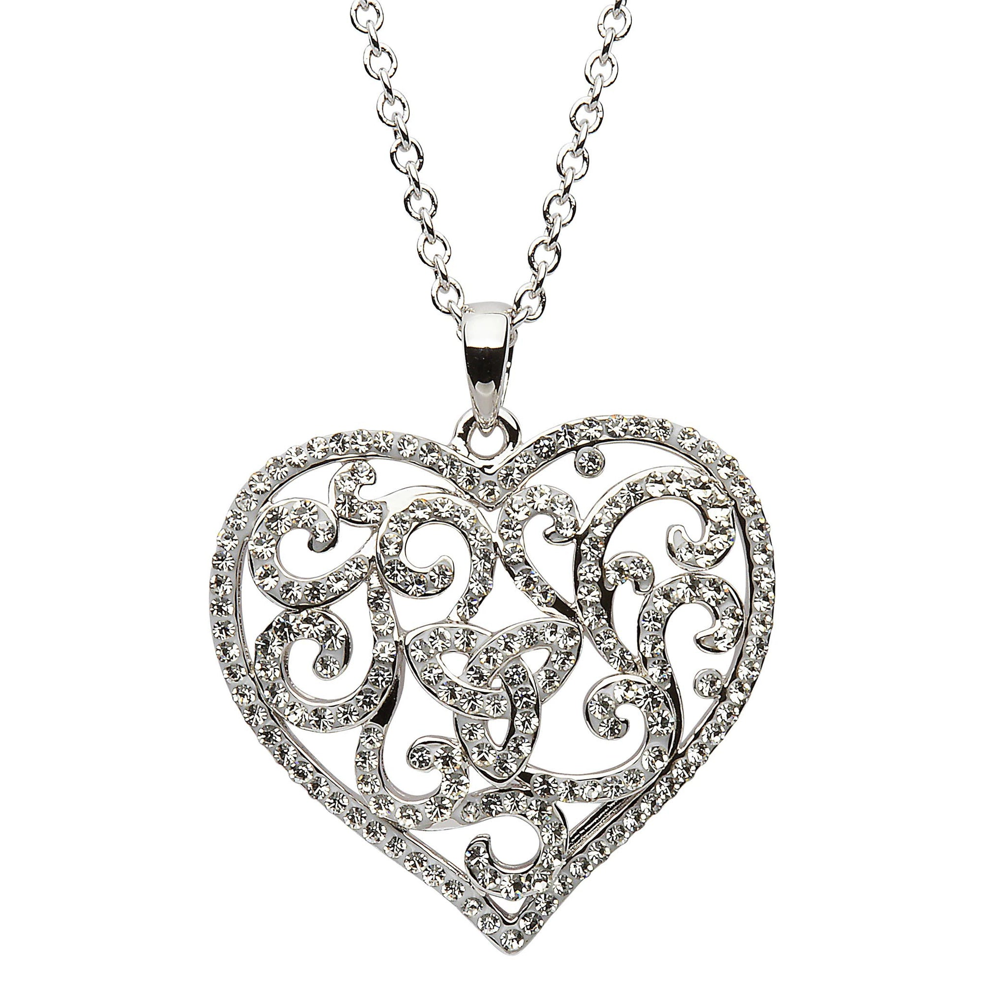 SW54 Heart Trinity Necklace Encrusted With White Swarovski Crystals by Shanore