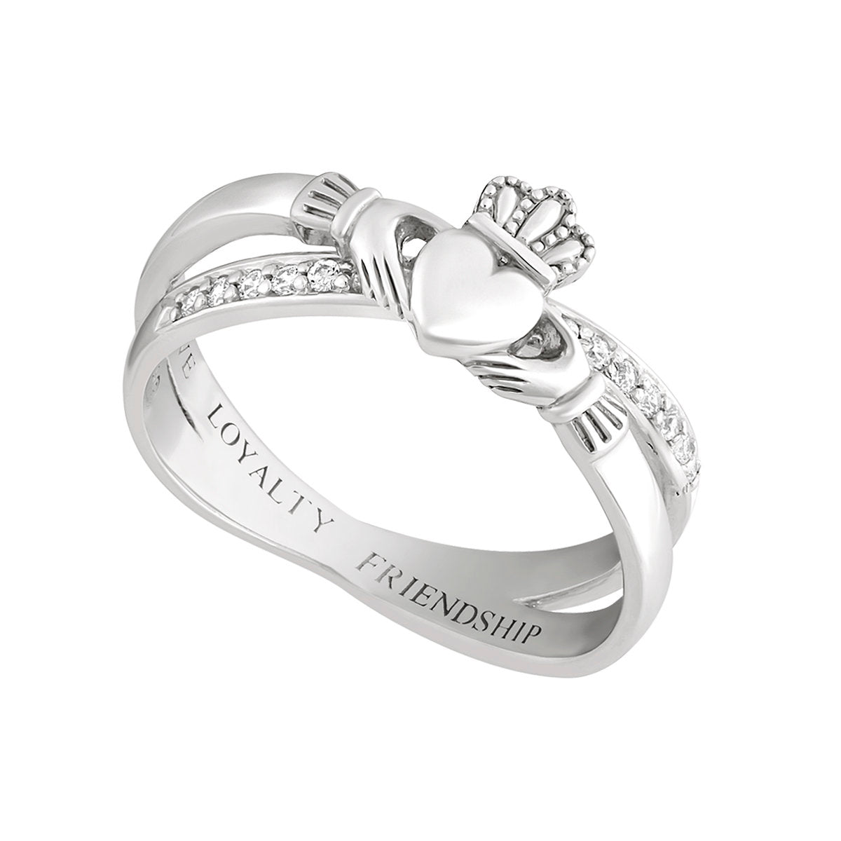 Silver Claddagh Kiss Ring