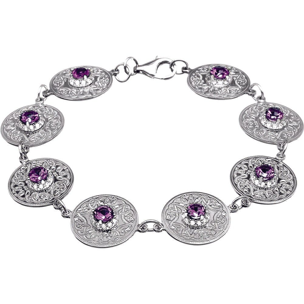 Celtic Warrior Bracelet with Amethyst and CZ Stones
