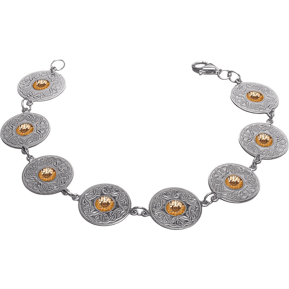 Celtic Warrior Bracelet – Small Discs with 18K Gold Bead