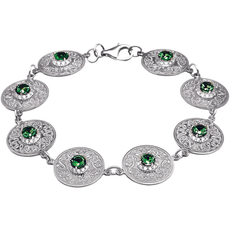 Celtic Warrior Bracelet with Emerald and CZ Stones