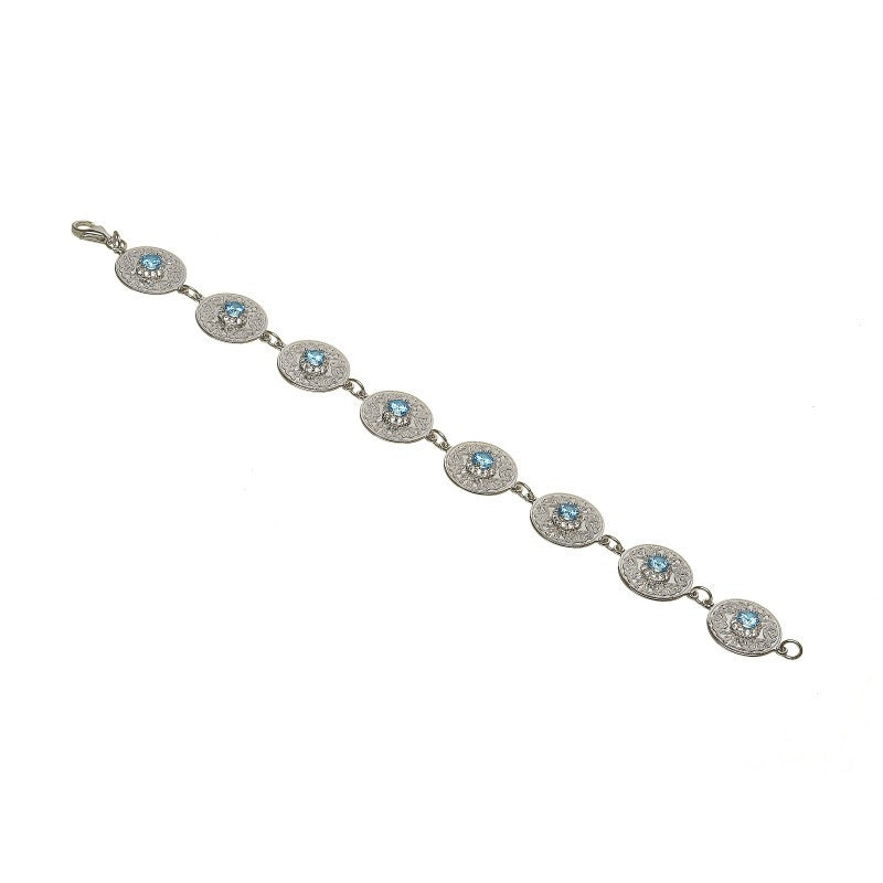 Small Celtic Warrior Bracelet with Swiss Blue CZ Center
