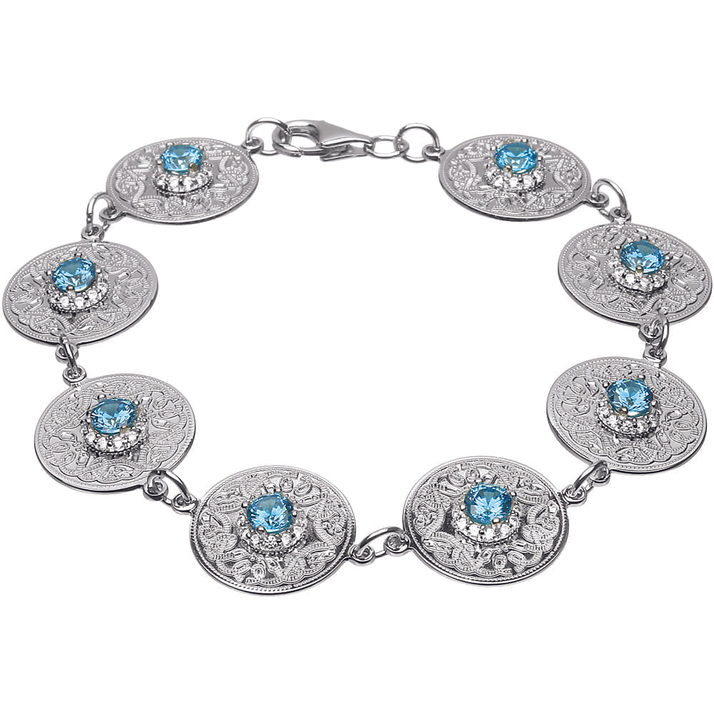 Celtic Warrior Bracelet with Swiss Blue and CZ Stones