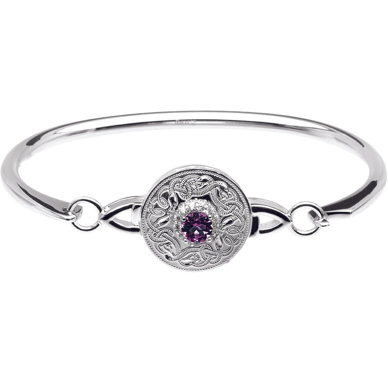 Celtic Warrior Style Wire Bangle with Amethyst and Clear CZ by Stones