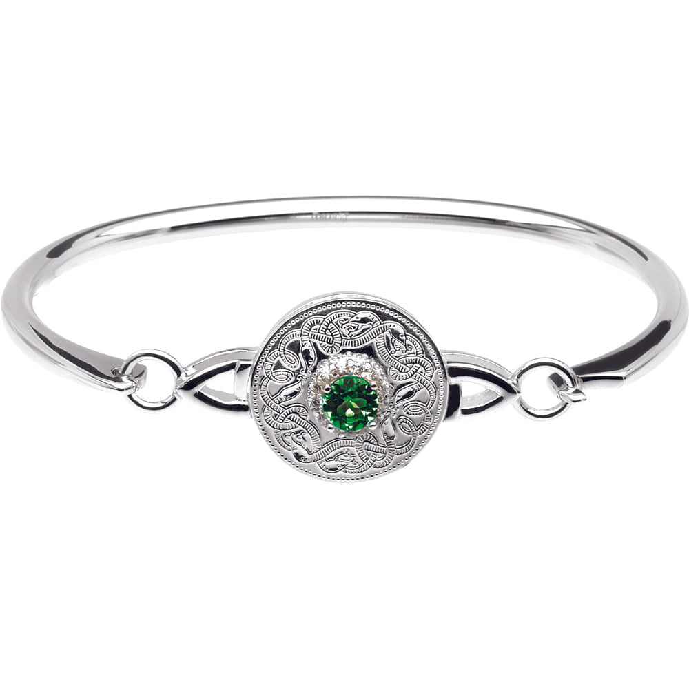 Celtic Warrior Style Wire Bangle with Emerald and Clear CZ by Stones