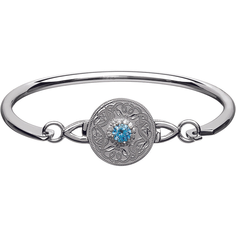 Celtic Warrior Style Wire Bangle with Swiss Blue and Clear CZ by Stones